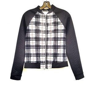 Jackets & Blazers - Black Checked Zip Jacket